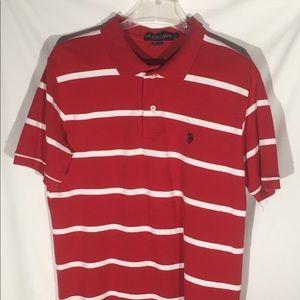 US Polo Assn Classic Golf Polo Shirt Red White